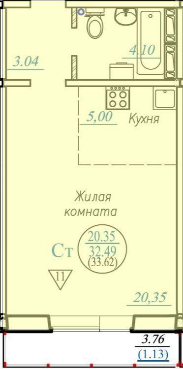 Бронная, 10/3 стр, 1-комнатная квартира