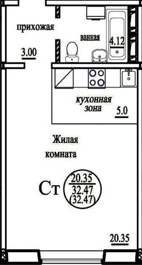 Высоцкого, 142/3, 1-к квартира