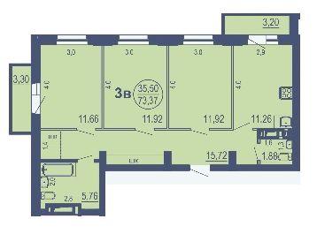 Зыряновская, 59, 3-к квартира