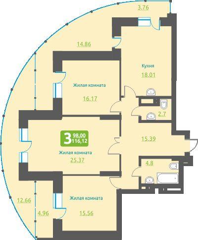 Обская 2-я, 154, 3-к квартира