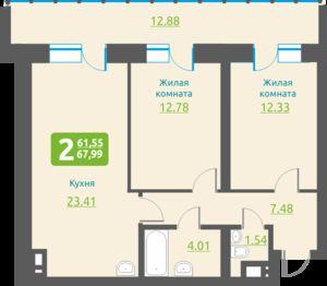 Обская 2-я, 154, 2-к квартира