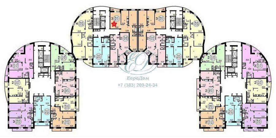 Продам 3-комн. квартиру по адресу Россия, Новосибирская область, Новосибирск, ул. Галущака,15 фото 6 по выгодной цене