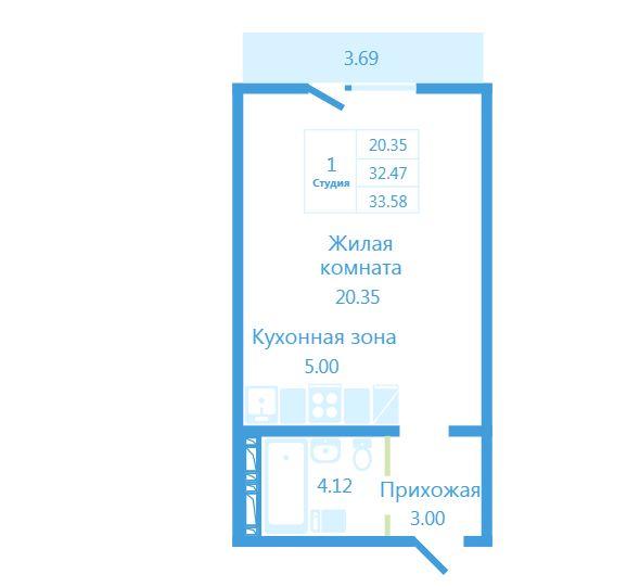 Продам студию по адресу Россия, Новосибирская область, Новосибирск, ул. Высоцкого,140/4 фото 0 по выгодной цене