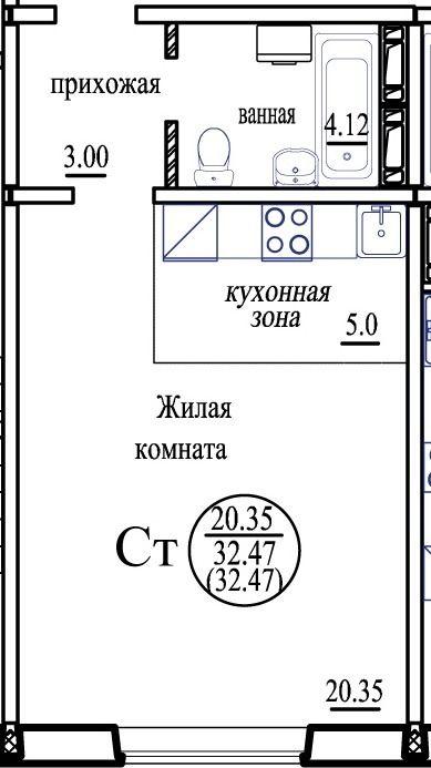 Бронная, 33 стр, 1-к квартира