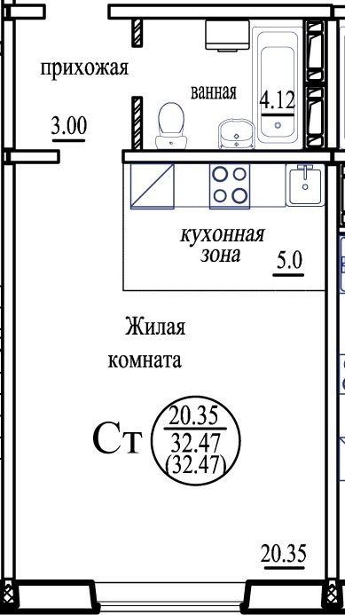 Виталия Потылицына, 7, 1-к квартира