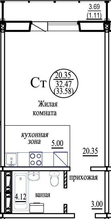Татьяны Снежиной, 31, 1-к квартира