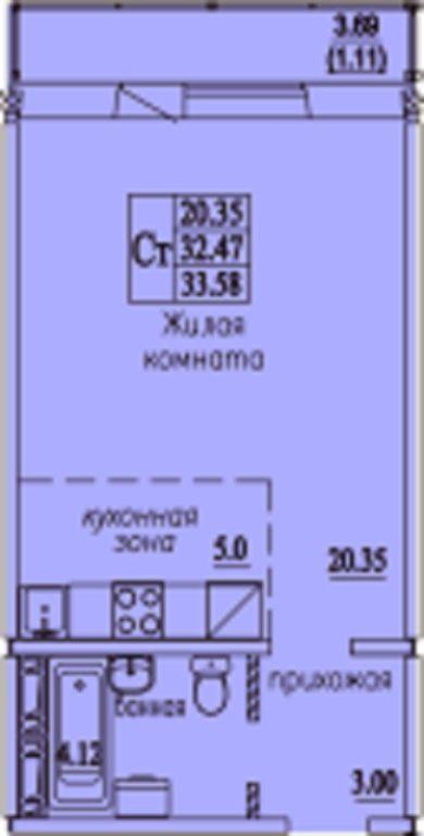 Виталия Потылицына, 7/3, 1-к квартира