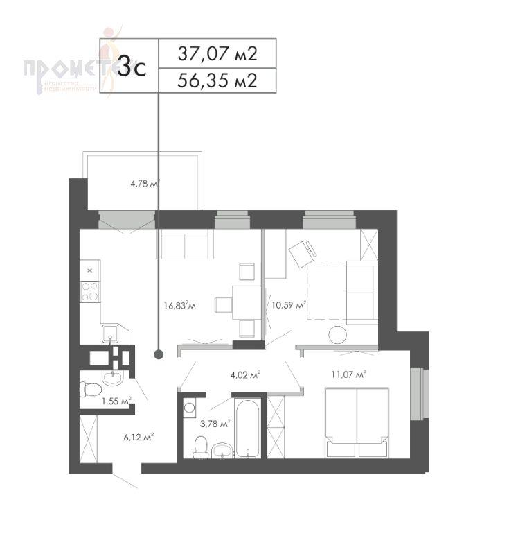 Коммунстроевская, 161 стр, 3-к квартира