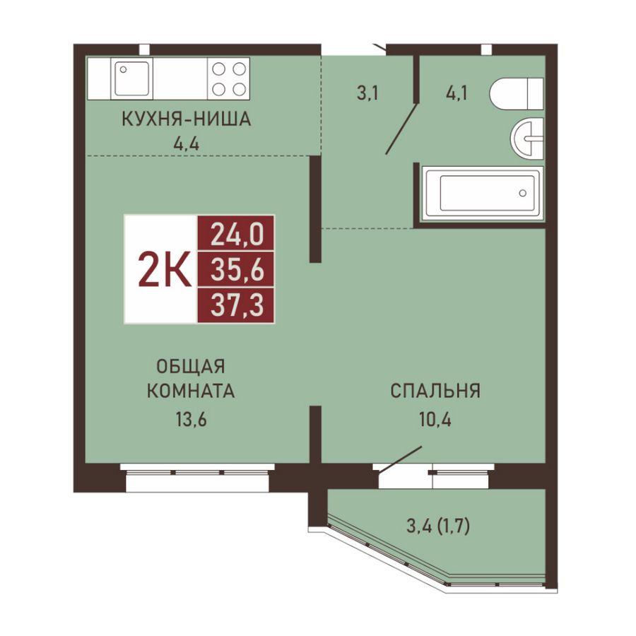 Виноградова, 3, 2-к квартира