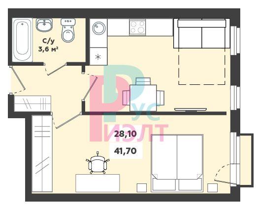 Лучезарная, 57, 1-комнатная квартира