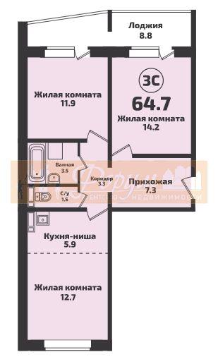 Краузе, 509стр, 3-комнатная квартира