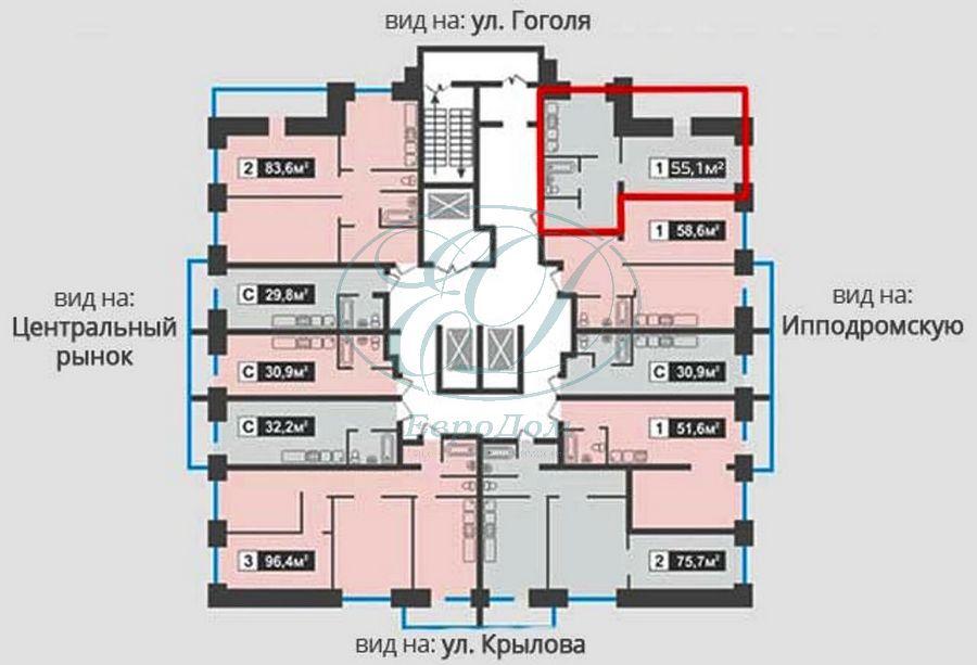 Продам 2-комн. квартиру по адресу Россия, Новосибирская область, Новосибирск, ул. Гоголя,40/1 фото 8 по выгодной цене